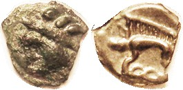 "CELTIC, GAUL, Leuci, cast Potin, 15 mm, 1st cent BC, Diademed (""Indian"") Head l./ boar stg l, VF, centered on unround flan, appearing as chipped; dark..."