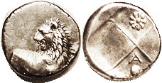 CHERRONESOS, Hemidrachm, 400-350 BC, Lion forepart/ rev divided in four, in one quarter A above pellet, the other a 9-petaled flower (very clear, none...