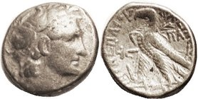 Cleopatra VII, Tet., Head of Ptolemy I rt/Eagle stg l, head-dress of Isis, Year 16; F-VF, well centered, sl cupped fabric, micro porosity with medium ...
