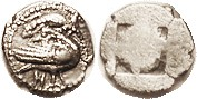 EION, Trihemiobol, c. 480 BC, Goose r, salamander above, H below, S1293; VF, centered, sl ragged flan, minimal granularity, good bold features. (A VF/...