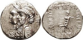 ELYMAIS, Kamnaskires III & Queen Anzaze, c. 82-80 BC, Ar Tet, Conjoined busts left, anchor behind/Zeus std l., lgnd around, S6171 (£1250); EF, well ce...