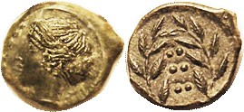 HIMERA, Æ16 (Hemilitron), 420-408 BC, Nymph hd l./6 pellets in wreath, S1110; EF, nrly centered, head complete with strong detail; nice smooth deep gr...