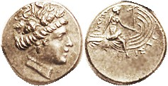 HISTIAIA, Tetrobol, 3rd cent BC, Nymph head r/nymph std on galley stern, S2496; Choice EF, obv well centered & struck with lovely detailed head of unu...