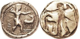 KAULONIA, Archaic Stater or Nomos, 510-475 BC, Apollo stg r, stag to rt/similar INCUSE, 7.63 gms, 24x26 mm, sim. S252 ( £2500 ); Noe E,51; AVF, well c...