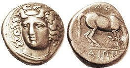 Drachm 350-325 BC, Nymph head 3/4 l./ horse rt, lgnd, S2120 (£175); Choice VF, good metal with lt tone, obv nrly centered & well struck with a beautif...