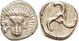 LYCIAN Dynasts, Perikle, 380-360 BC, 1/3 Stater (Tetrobol), Facg lion scalp/ triskeles, facing Apollo head, S5241 (£90); EF, nrly centered on sl squar...