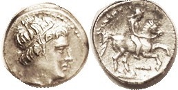 MACEDON, Philip II, 359-336 BC, 1/5 Stater (Time of Kassander-Demetrios), Apollo head r/horseman r, club below; S6690; AEF, obv centered a trifle low ...