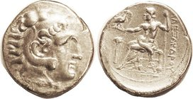 Alexander the Great, Tet, of Arados, Herakles hd r/Zeus std l, palm at left, AP monogram under seat, date in dots (weak) in exergue, Pr.3367, AVF, rev...