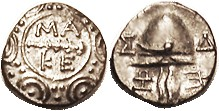 Time of Phil V to Perseus, 187-168 BC, Tetrobol, MAKE around club in cehter of shield/ Helmet, S1387; EF, obv sl off-ctr, rev well centered, good meta...