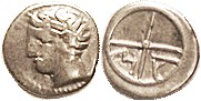 MASSALIA, Obol, 380-336 BC, Youthful hd l./MA in wheel, S72; Nice F-VF/VF, well centered & struck, perfect bright metal. (A VF brought $385, Berk 7/09...