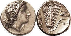 METAPONTUM, Stater, c.330-300 BC, Demeter head r/ grain ear, MAX & plough at right; AEF, nrly centered, obv has touch of porosity & smoothing under me...