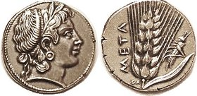 Stater, COPY, by Slavei, signed SL in Greek letters at rev bottom! Demeter head r/ grain ear, grasshopper; struck in silver, EF, bright with lt tone; ...