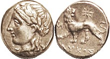Drachm, 2nd cent BC, Apollo head left/lion stg left, looking back, star above, Magistrate LYKOS below; VF/EF, well centered on a smallish flan, excell...