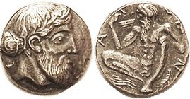 NAXOS, Drachm, Dionysos head r/Naked Silenos spreading legs & guzzling wine; COPY, VF+, appears silver with lt tone, fairly nice.