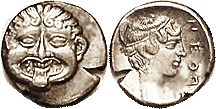 NEAPOLIS (Macedon), Hemidrachm, 424-350 BC, Facing Gorgoneion/nymph head r, lgnd at rt, S1417; VF+, obv off-ctr but head complete with good strong fac...