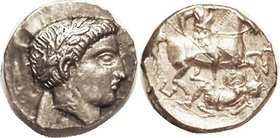 PAEONIA, Patraos, 340-315 BC, Tet., Apollo head r/ Horseman spearing foe; S1520; EF/Virtually Mint, obv nrly centered, some die crudeness in field but...