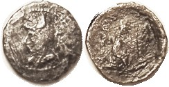 "Phriapatios, 185-170 BC, Hemidrachm (1.77 gm), Sellw. 9.5 (Mithradates I, ""Triobol""); bust left in bashliq/archer rt, 2 line lgnd; F/G, considerable r..."