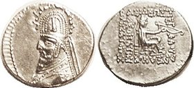 Sinatrukes (Used to be Gotarzes I), 33.3, bust in tiara with stags; Choice EF, nrly centered, sharply struck with crisp portrait detail, complete clea...