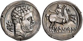 SPAIN. Bolskan. Circa 150-100 BC. Denarius (Silver, 19 mm, 4.28 g, 1 h). Bearded bare male head to right; behind, 'bon' in Iberian. Rev. Warrior on ho...