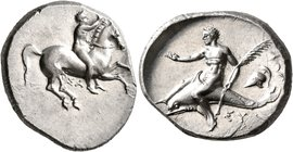 CALABRIA. Tarentum. Circa 332-302 BC. Didrachm or Nomos (Silver, 23 mm, 7.89 g, 10 h), Sa... and Sym..., magistrates. Nude youth riding horse gallopin...