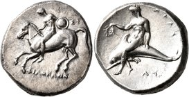 CALABRIA. Tarentum. Circa 302-280 BC. Didrachm or Nomos (Silver, 22 mm, 7.82 g, 2 h), Si.., Philokles and Ly..., magistrates. Nude warrior on horsebac...