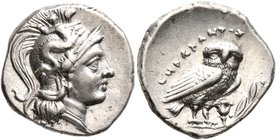 CALABRIA. Tarentum. Circa 272-240 BC. Drachm (Silver, 15 mm, 3.19 g, 1 h), Herakletos, magistrate. Head of Athena to right, wearing crested Attic helm...