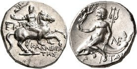 CALABRIA. Tarentum. Circa 240-228 BC. Didrachm or Nomos (Silver, 20 mm, 6.40 g, 12 h), Kallikrates, magistrate. Warrior on horseback to right, holding...