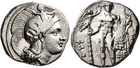 LUCANIA. Herakleia. Circa 330/25-281 BC. Didrachm or Nomos (Silver, 20 mm, 8.00 g, 8 h). Head of Athena to right, wearing crested Attic helmet adorned...