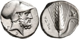 LUCANIA. Metapontion. Circa 340-330 BC. Didrachm or Nomos (Silver, 20 mm, 7.87 g, 12 h). Bearded head of Leukippos to right, wearing Corinthian helmet...