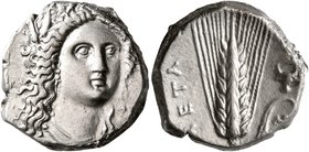 LUCANIA. Metapontion. Circa 330-290 BC. Didrachm or Nomos (Silver, 19 mm, 7.87 g, 9 h). Head of Demeter facing slightly to the right, wearing wreath o...
