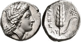 LUCANIA. Metapontion. Circa 330-290 BC. Didrachm or Nomos (Silver, 19 mm, 7.87 g, 4 h). Head of Demeter to right, wearing wreath of grain ears, triple...