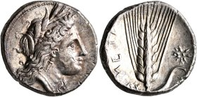 LUCANIA. Metapontion. Circa 330-290 BC. Didrachm or Nomos (Silver, 20 mm, 7.81 g, 6 h). Head of Demeter to right, wearing wreath of grain ears, triple...