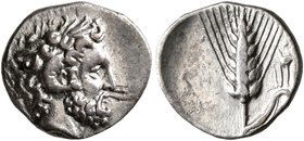 LUCANIA. Metapontion. Circa 325-275 BC. Diobol (Silver, 12 mm, 0.87 g, 1 h). Laureate head of Zeus Ammon to right, with ram's horn over his ear. Rev. ...