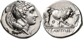 LUCANIA. Velia. Circa 340-334 BC. Didrachm or Nomos (Silver, 22 mm, 7.59 g, 12 h). Head of Athena to right, wearing crested Attic helmet adorned, on t...