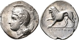 LUCANIA. Velia. Circa 334-300 BC. Didrachm or Nomos (Silver, 23 mm, 7.24 g, 9 h), Kleudoros Group. Head of Athena to left, wearing crested Attic helme...