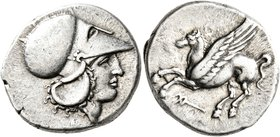 BRUTTIUM. Hipponion. Circa 350-300 BC. Stater (Silver, 22 mm, 8.46 g, 7 h). Head of Athena to right, wearing Corinthian helmet. Rev. Pegasus flying le...