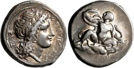 BRUTTIUM. Kroton. Circa 400-325 BC. Stater (Silver, 21 mm, 7.52 g, 7 h). ΚΡΟΤΟΝΙΑ-ΤΑΣ Laureate head of Apollo with long hair to right. Rev. The Herakl...