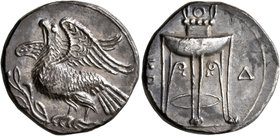 BRUTTIUM. Kroton. Circa 350-300 BC. Didrachm or Nomos (Silver, 22 mm, 7.71 g, 7 h). Eagle with spread wings standing left on olive branch. Rev. KP[O] ...