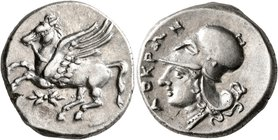 BRUTTIUM. Lokroi Epizephyrioi. Circa 350-275 BC. Stater (Silver, 21 mm, 8.73 g, 5 h). Pegasus flying left; below, thunderbolt. Rev. ΛOKPΩN Head of Ath...