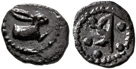 BRUTTIUM. Rhegion. Circa 480-462 BC. Pentonkion (Silver, 6 mm, 0.17 g, 9 h). Forepart of a hare to right. Rev. Large R within five pellets. D. Bérend:...