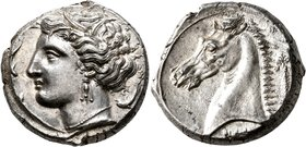 SICILY. Entella (?). Punic issues, circa 320/15-300 BC. Tetradrachm (Silver, 24 mm, 17.00 g, 3 h). Head of Tanit-Persephone to left, wearing wreath of...