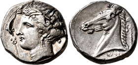 SICILY. Entella (?). Punic issues, circa 320/15-300 BC. Tetradrachm (Silver, 26 mm, 17.33 g, 4 h). Head of Tanit-Persephone to left, wearing wreath of...