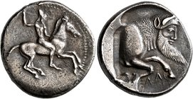 SICILY. Gela. Circa 490/85-480/75 BC. Didrachm (Silver, 22 mm, 8.26 g, 9 h). Bearded warrior, nude but for high helmet, riding horse to right, brandis...