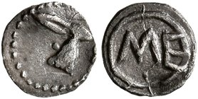 SICILY. Messana. 480-462 BC. Hexas - Dionkion (Silver, 6 mm, 0.06 g, 7 h). Head of a hare to right. Rev. ME. Caltabiano 286. HGC 2, 825. SNG ANS 325 v...