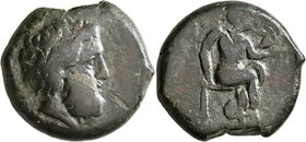 SICILY. Petra. 354/3-344 BC. Litra (Bronze, 31 mm, 31.27 g, 7 h). [ΠETPINΩN] Head of Zeus Eleutherios to right. Rev. Aphrodite seated right, holding d...