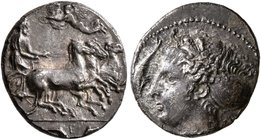 SICILY. Syracuse. Dionysios I, 405-367 BC. Hemidrachm (Silver, 14 mm, 2.06 g, 6 h), signed by Euainetos or Euarchidas. Charioteer driving quadriga gal...