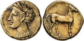 CARTHAGE. Circa 310-290 BC. Stater (Gold, 19 mm, 7.31 g, 12 h). Head of Tanit to left, wearing wreath of grain ears, triple-pendant earring and elabor...