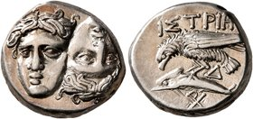 MOESIA. Istros. Circa 256/5-240 BC. Drachm (Silver, 17 mm, 5.97 g, 11 h). Two facing male heads side by side, one upright and the other inverted. Rev....