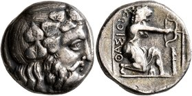 ISLANDS OFF THRACE, Thasos. Circa 411-340 BC. Didrachm (Silver, 17 mm, 6.92 g, 7 h). Bearded head of Dionysos to right, wearing wreath of ivy and frui...