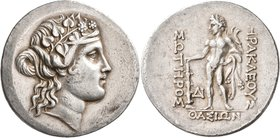 ISLANDS OFF THRACE, Thasos. Circa 168/7-148 BC). Tetradrachm (Silver, 34 mm, 17.09 g, 11 h). Head of the youthful Dionysos to right, wearing wreath of...
